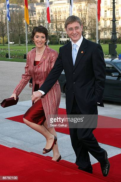 Ferenc Gyurcsany Prime Minister of Hungary and his wife Klara Dobrev arrive at the opening of the NATO summit at the Kurhaus on April 3 2009 in Baden...