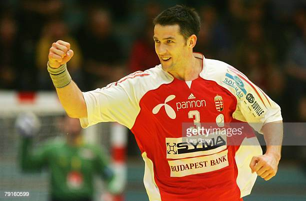 Ferenc Ilyes of Hungary celebrates during the Men's Handball European Championship main round Group II match between Hungary and Sweden at Trondheim...