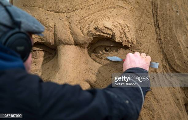 Ferenc Monostori from Hungary working on the head of Charles Darwin at the sand sculpture show in Binz on Ruegen island Germany 9 March 2016 With the...