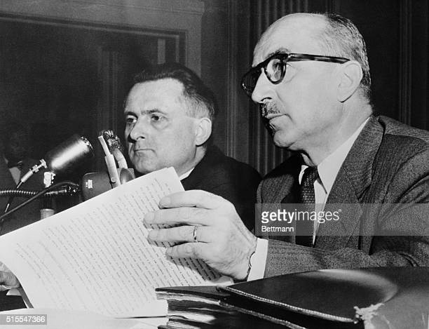 Ferenc Nags who was prime minister of Hungary in 1946 is shown as he appeared before a house committee investigating Communist aggression at the...