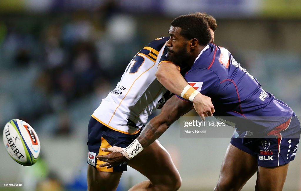 Fereti Sa'aga of the Rebels offloads during the round 12 Super Rugby match between the Brumbies and the Rebels at GIO Stadium on May 12, 2018 in Canberra, Australia.