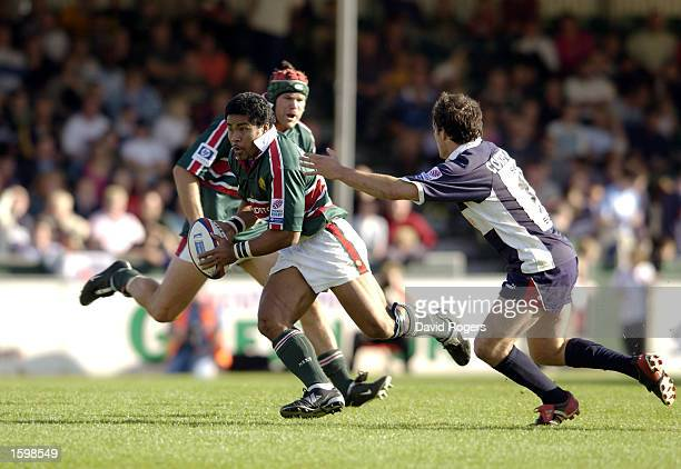 Fereti Tuilagi of Leicester takes on Felipe Contepomi of Bristol during the Zurich Premiership match between the Bristol Shoguns and the Leicester...