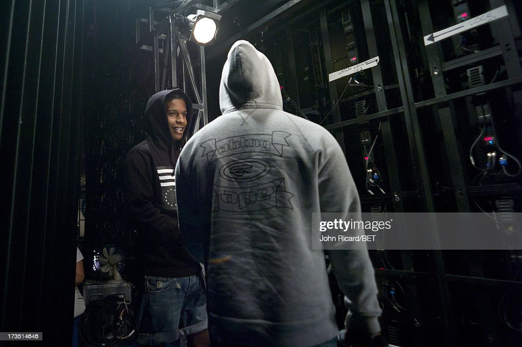 Ferg and A$AP Rocky backstage at BET's 106 & Park at BET Studios on July 15, 2013 in New York City.