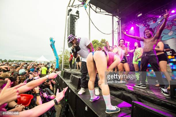 Ferg and Marty Baller perform at Mad Decent Block Party at Mardi Gras World on August 29 2014 in New Orleans Louisiana