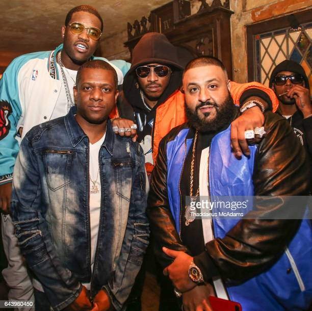 ASAP Ferg DJ Nasty Future and DJ Khaled pose backstage at DJ Khaled and Friends at The House of Blues on February 18 2017 in New Orleans Louisiana