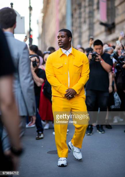 Ferg wearing yellow suit is seen outside Valentino on day two of Paris Fashion Week Menswear SS19 on June 20 2018 in Paris France