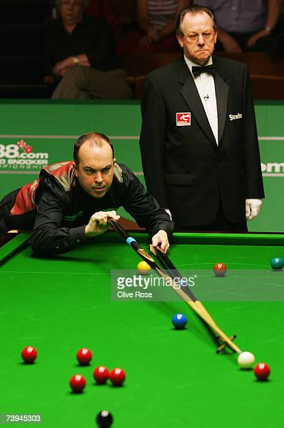 Fergal O'Brien in action during his first round match against Barry Hawkins in the 888.com World Championship at the Crucible Theatre on April 22,...