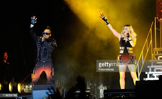 Fergie and Apldeap of the Black Eyed Peas perform at Vicente Calderon Stadium on July 14 2011 in Madrid Spain