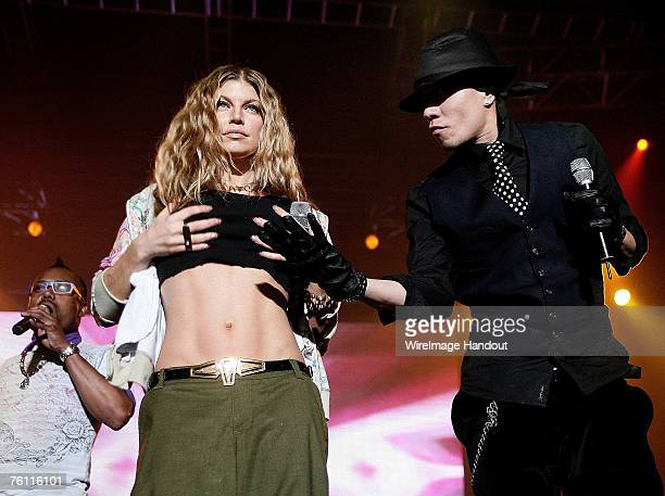 Fergie and Taboo of the Black Eyed Peas perform on stage in concert at Olympic Park on August 16 2007 in Seoul South Korea