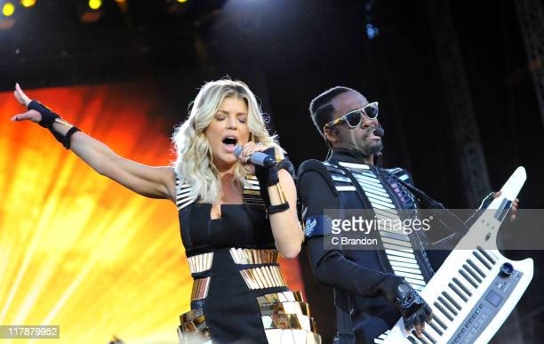 Fergie and william of Black Eyed Peas perform on the Main Stage at the Wireless Festival on July 1 2011 in London United Kingdom