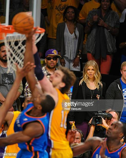 Fergie attends the Los Angeles Lakers and Oklamhoma City Thunder Game 3 of the Western Conference Semifinals in the 2012 NBA Playoffs on May 18 2012...