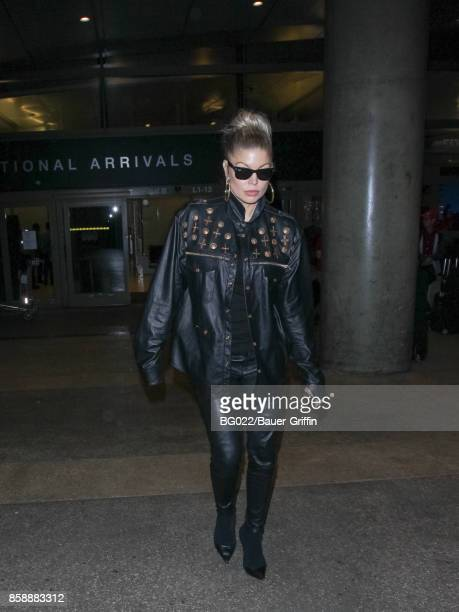 Fergie Duhamel is seen at Los Angeles International Airport on October 07 2017 in Los Angeles California
