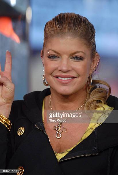 Fergie during Ashley Tisdale Fergie Lloyd and Timbaland Visit MTV's TRL February 7 2007 at MTV Studios in New York City New York United States