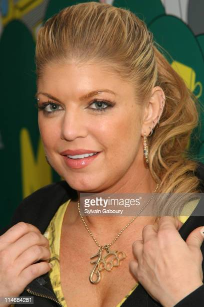 Fergie during Fergie Ashley Tisdale Lloyd Lil Wayne and Timbaland Visit MTV's TRL February 7 2007 at MTV Studios at 1515 Broadway in New York City...