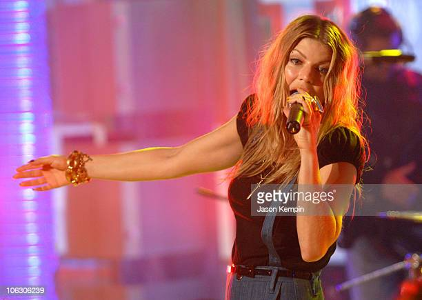 Fergie during Fergie Steve Carell and Miley Cyrus Visit MTV's 'TRL' June 18 2007 at MTV Studios in New York City New York United States