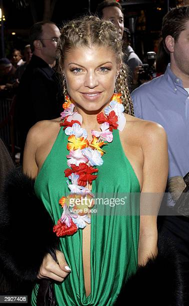 Fergie from The Black Eyed Peas arrives at the premiere of '50 First Dates' at the Mann Village on February 03 2004 in Westwood California