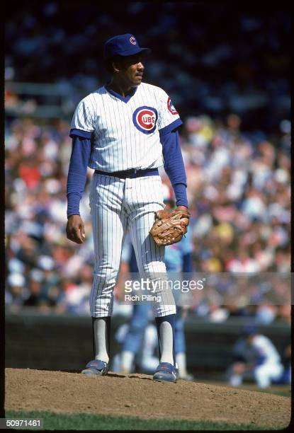 Fergie Jenkins of the Chicago Cubs stands on the mound at Wrigley Field in Chicago Illinois in 1983