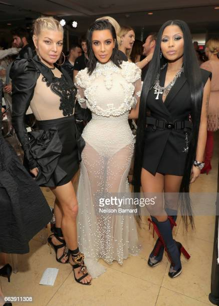 Fergie Kim Kardashian West and Nicki Minaj attend the Daily Front Row's 3rd Annual Fashion Los Angeles Awards at Sunset Tower Hotel on April 2 2017...