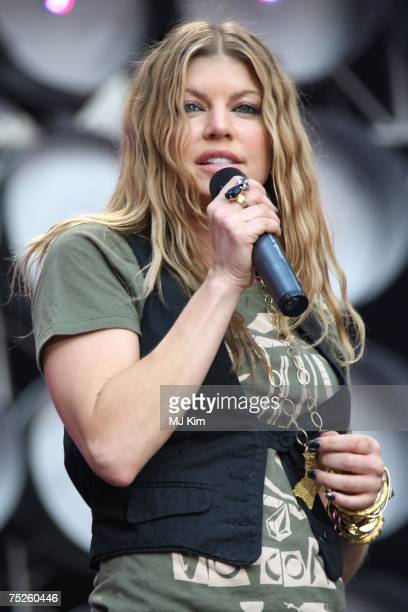 Fergie of American hiphop group Black eyed Peas performs onstage during the Live Earth concert held at Wembley Stadium on July 7 2007 in London Live...
