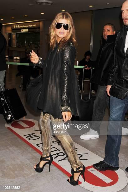 Fergie of Black Eyed Peas arrive at Narita International Airport on February 22, 2011 in Narita, Japan.
