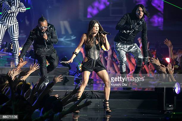 Fergie of Black Eyed Peas performs with Apl.De.Ap and Taboo of Black Eyed Peas during the MTV Video Music Awards Japan 2009 at Saitama Super Arena on...