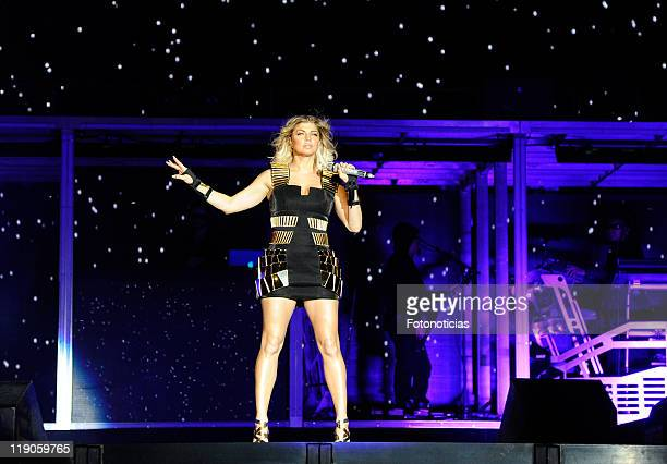 Fergie of the Black Eyed Peas performs at Vicente Calderon Stadium on July 14 2011 in Madrid Spain