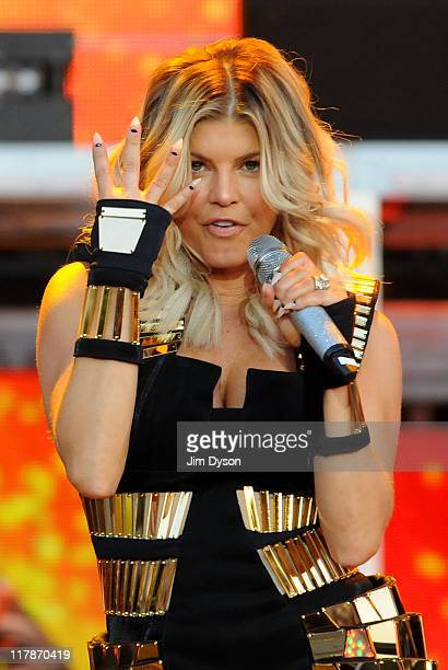 Fergie of The Black Eyed Peas performs live on stage during the first day of the Wireless Festival at Hyde Park on July 1 2011 in London England