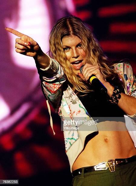 Fergie of the Black Eyed Peas performs on stage in concert at Olympic Park on August 16 2007 in Seoul South Korea
