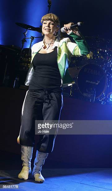 Fergie of the Black Eyed Peas performs on stage in support of their album Monkey Business at the Carling Apollo Hammersmith on December 18 2005 in...