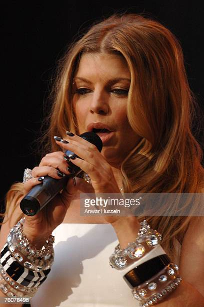 Fergie performs at the Concert for Diana at Wembley Stadium on July 1 2007 in London England