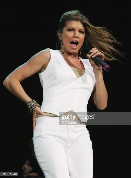 Fergie performs on stage before The Police at Western Springs Stadium on January 19 2008 in Auckland New Zealand