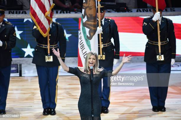 Fergie performs the National Anthem during the NBA AllStar Game 2018 at Staples Center on February 18 2018 in Los Angeles California