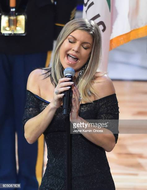 Fergie performs the US National Anthem during the NBA AllStar Game 2018 at Staples Center on February 18 2018 in Los Angeles California