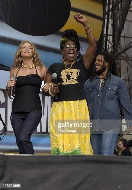 Fergie Rita Marley and Stephen Marley during LIVE 8 Philadelphia Show at Philadelphia Museum of Art in Philadelphia Pennsylvania United States