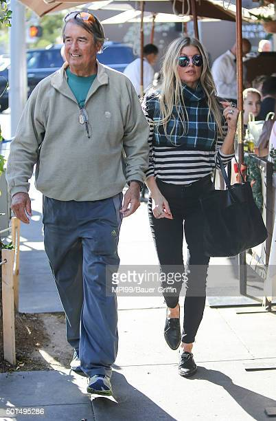 Fergie seen with her father Jon Patrick Ferguson at Il Pastaio on December 15 2015 in Los Angeles California