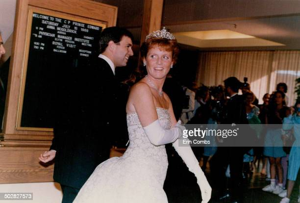 Fergie sparkles In her only appearance in full evening dress on Prince Edward Island Sarah Duchess of York wears a creamcolored lace dress to a...