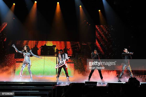 Fergie William ApldeAp and Taboo of the Black Eyed Peas perform at Madison Square Garden on February 24 2010 in New York City