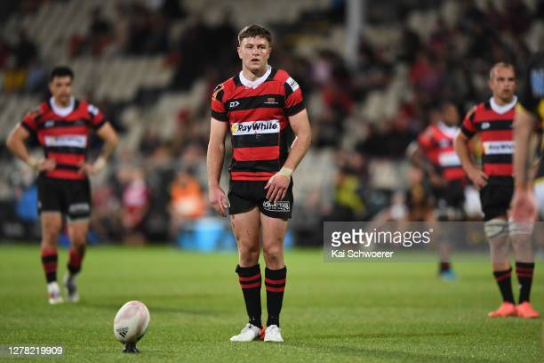 Fergus Burke of Canterbury looks to kick a conversion during the round 4 Mitre 10 Cup match between Canterbury and Wellington at Orangetheory Stadium...