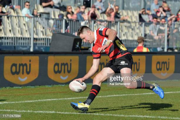 Fergus Burke of Canterbury scores a try during the round 4 Mitre 10 Cup match between Canterbury and Southland at Orangetheory Stadium on August 31,...