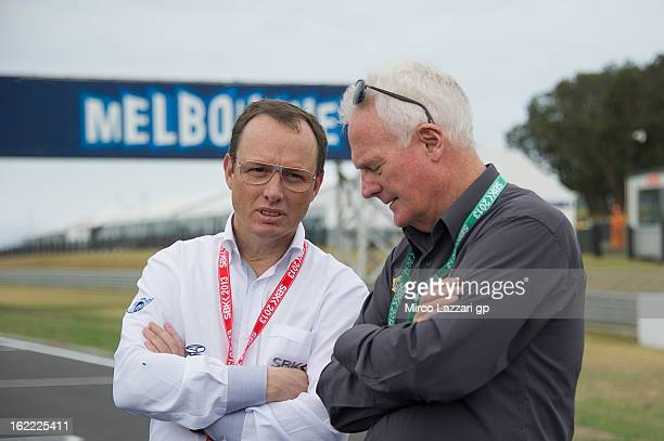 Fergus Cameron of Australia speaks with Javier Alonso of Spain during the event Track lap on bicycles at Phillip Island Grand Prix Circuit on...