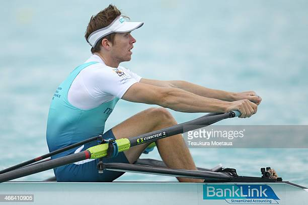 Fergus Fauvel of Southern RPC makes his way to the start of the Mens open single sculls final during the South Island Club Championships at Lake...