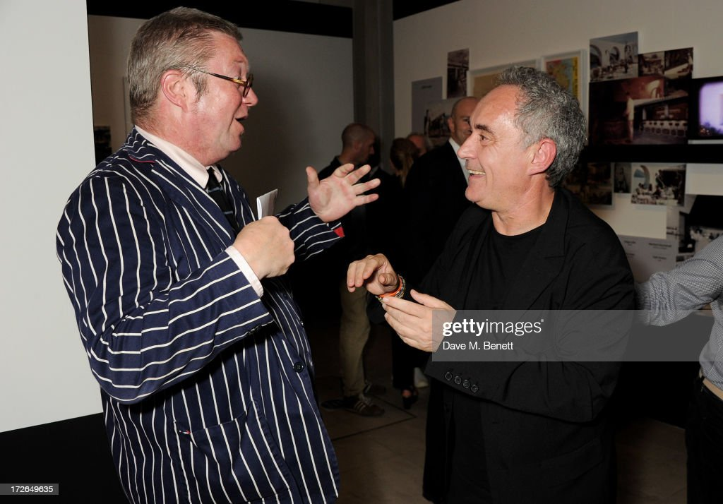 Fergus Henderson (L) and Ferran Adria attend the private view of 'elBulli: Ferran Adria and The Art of Food' at Somerset House on July 4, 2013 in London, England. The exhibition, in partnership with Estrella Damm, opens on July 5th and runs until September 29th 2013.