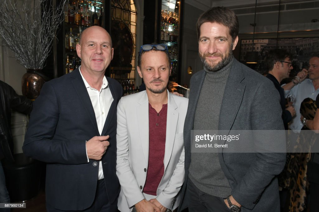 Fergus Lawlor, Jonathan Yeo and Kris Thykier attend a private view after party for new Royal Academy Of Arts exhibition 'From Life' hosted by artist Jonathan Yeo at Brown's Hotel on December 7, 2017 in London, England.
