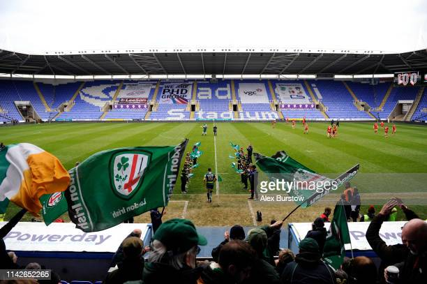 Fergus Mulchrone of London Irish runs out prior to the Greene King IPA Championship match between London Irish and Hartpury RFC at Madejski Stadium...