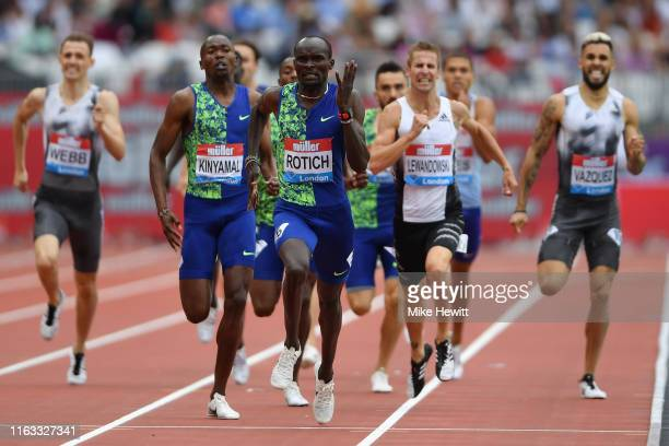 Ferguson Cheruiyot Rotich of Kenya celebrates victory in the Men's 800m during Day One of the Muller Anniversary Games IAAF Diamond League event at...