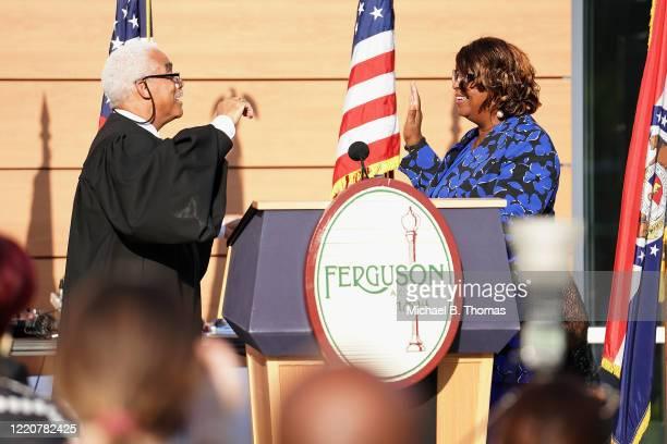 Ferguson Mayor Ella Jones is sworn is a mayor by Missouri Supreme Court Chief Justice George William Draper III during the mayoral inauguration...