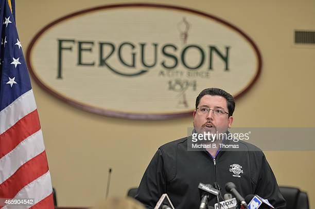 Ferguson Mayor James Knowles speaks to the media during a press conference at the Ferguson City Hall and Municipal Court Building on March11, 2015 in...