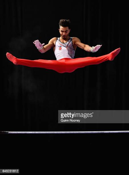 Ferhat Arican of Turkey performs on the High Bar during the World Cup Gymnastics at Hisense Arena on February 25, 2017 in Melbourne, Australia.