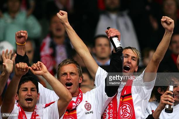 Ferhat Kiskanc Ronny Nikol Andre Maczkowiak and Stijn Haeldermans of Essen celebrate after the end of the Third League match between Rot Weiss Essen...