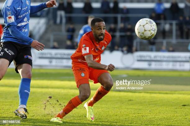 Ferid Ali of Athletic FC Eskilstuna and Andreas Bengtsson of Halmstad BK compete for the ball during the Allsvenskan match between Halmstad BK and...